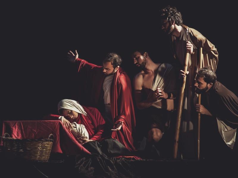 Rappresentazione teatrale tele Caravaggio
